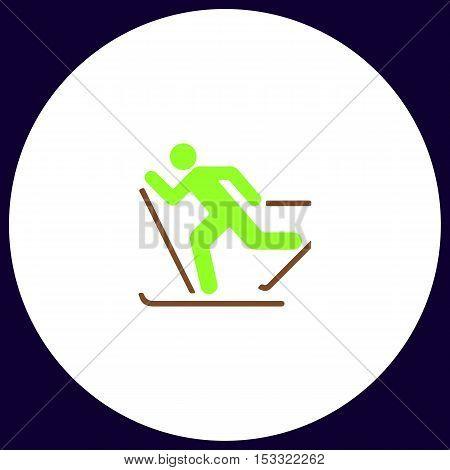 ski Simple vector button. Illustration symbol. Color flat icon