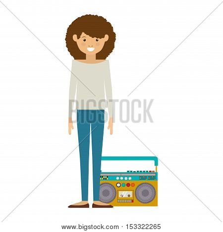 avatar woman smiling with retro music player icon over white background. hipster style design. vector illustration