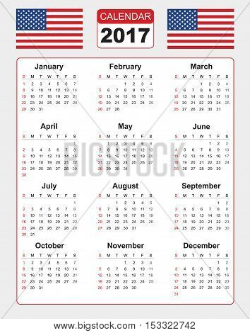 Calendar for 2017 on white background with two vector image of american flag. Vector EPS10.