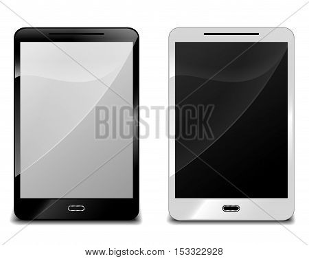 Illustration of two smartphone on white background