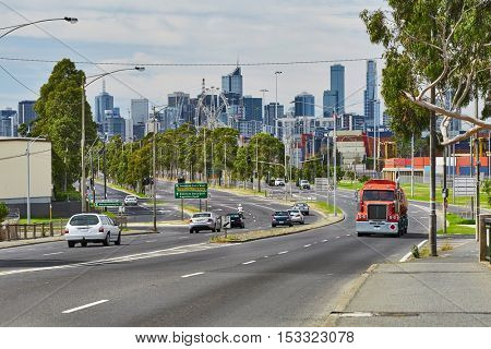 Transit road with Melbourne skyline in the background