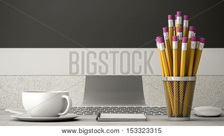 phone on a wooden table coffee and notebook 3d illustration