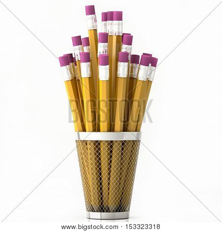 orange pencils in basket isolated on white background 3d illustration