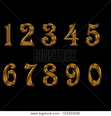 set of gold number. set of metal number.