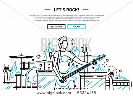 Illustration of vector modern simple line flat design website banner, header with male playing the electro guitar