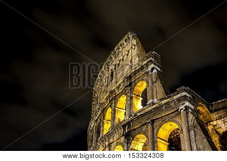 Colosseum in Rome at night, Italy, Europe