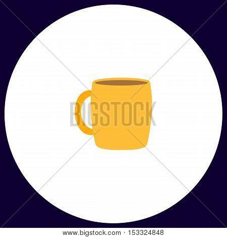 Tea cup Simple vector button. Illustration symbol. Color flat icon