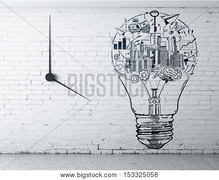 Front view of interior with creative business sketch inside light bulb on white brick wall with clock. Success idea concept. 3D Rendering