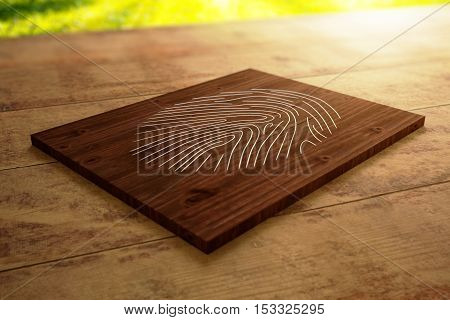 Close up of wooden board with fingerprint placed on desktop. Security concept. 3D Rendering