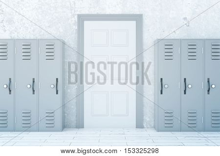 School corridor interior with light lockers and white door on concrete wall background. 3D Rendering