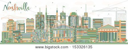 Abstract Nashville Skyline with Color Buildings. Vector Illustration. Business Travel and Tourism Concept with Modern Architecture. Image for Presentation Banner Placard and Web Site.