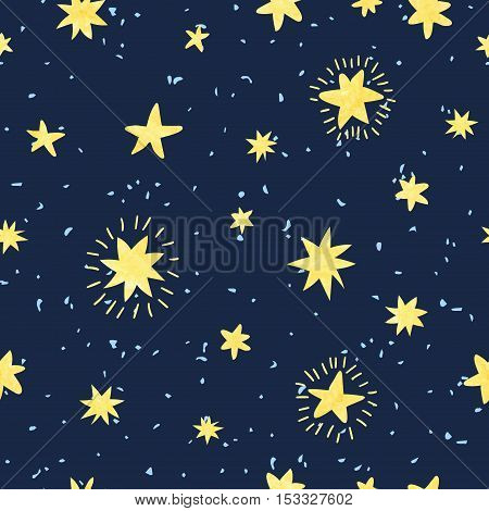 Night sky seamless pattern. Vector background with hand drawn stars.