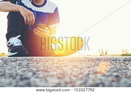 Man With Mobile Phone On The Street Outdoor