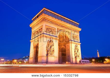 The Triumphal Arch, Paris at night
