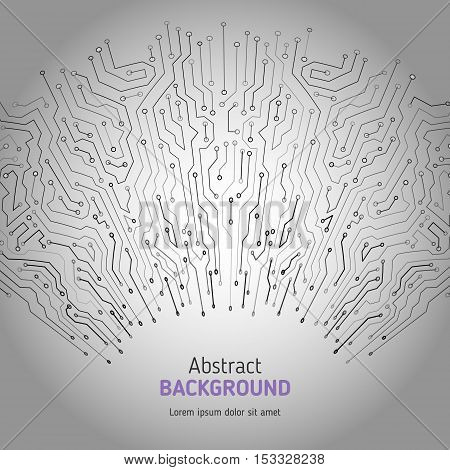 Technological vector background with a circuit board texture. Digital radial technologies abstract background