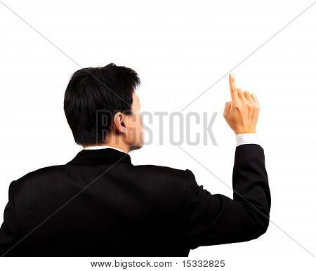 Young businessman touching screen by hand and finger