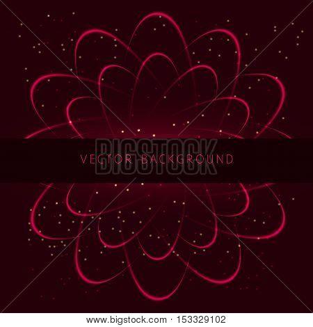 Shining neon vector cosmic flower. Vector illustration