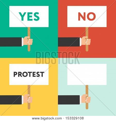 Set of hands holding different signs- yes no protest. Success satisfaction disagreement protest elections concepts. Flat graphic elements for web banners web design web sites infographics