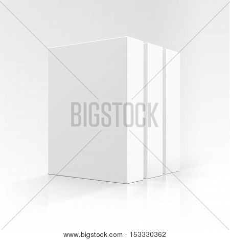 Vector Set of  Blank White Vertical Rectangular Carton boxes in Perspective for package design Close up Isolated on White Background