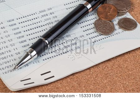 Passbook Or Passbook Saving Account, Passbook Bank Statement. Coin Stack On Account Passbook Or Book
