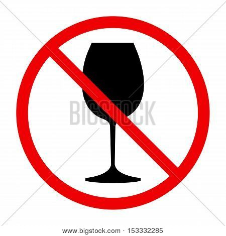 Non alcohol symbol with wine glass, , vector illustration