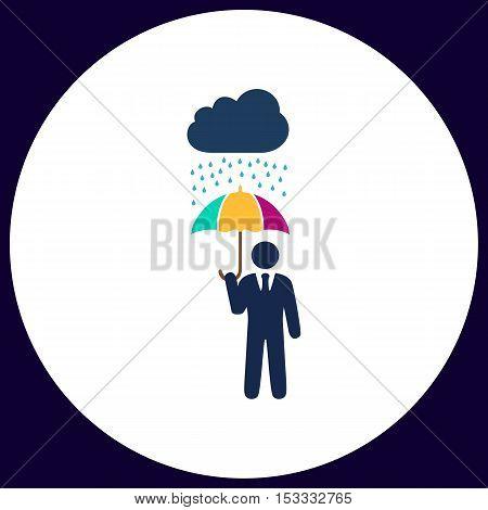 Rainy Simple vector button. Illustration symbol. Color flat icon