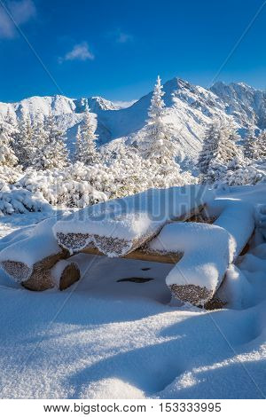 Snow Covered Bench In Tatra Mountains, Poland