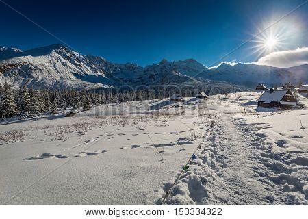 Mountain Hut In Winter At Sunset, Poland