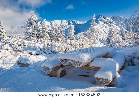 Bench Covered By Snow In Tatra Mountains, Poland