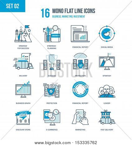 Color Flat Line icons set of strategic planning, business and financial reporting, marketing, e-commerce, shopping and financial protection, successe and leadership. Editable Stroke.
