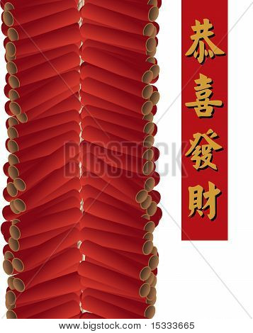 Red firecrackers on white background