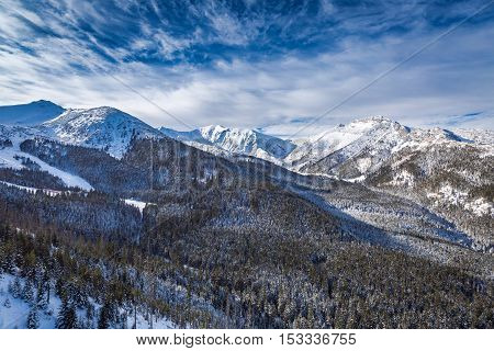 Tatra mountains at winter with full of snow Poland