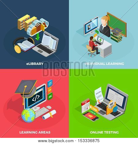 E-learning concept isometric icons set with individual learning symbols isolated vector illustration