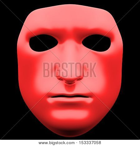 The mask isolated on black background. Mask front view isolated on black background. 3D illustration. 3D render glossy mask isolated on black background
