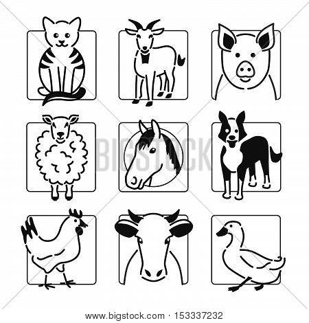 Nine popular farm animals in black outline