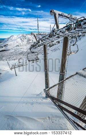 Frozen Cableway In The Tatras Mountains, Poland