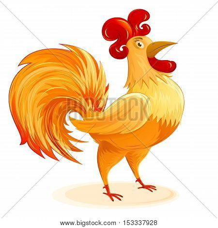 Rooster as a symbol of Christmas and New Year; Cartoon drawing of a fun colorful Cockerel; Vector isolated character Eps8