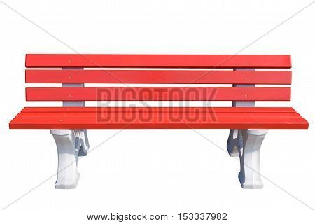 Red wooden Park bench on a stone legs isolated on white