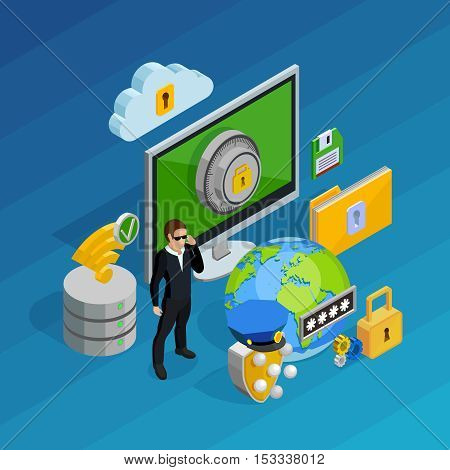 Data protection and storage concept with laptop computer and smartphone isometric vector illustration