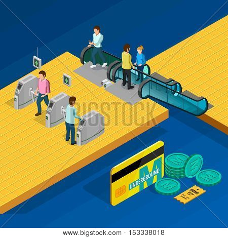 Metro isometric design concept with escalator and people on blue background vector illustration