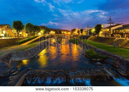 Takayama Miya Gawa River Blue Hour Evening H