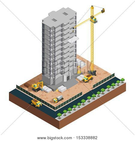 Process of many-storeyed building construction isometric composition with various vehicles and materials on white background vector illustration
