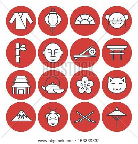 Japan set in line style. Vector illustration