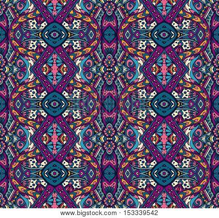 Vector Tribal indian vintage ethnic seamless design. Festive colorful mandala pattern
