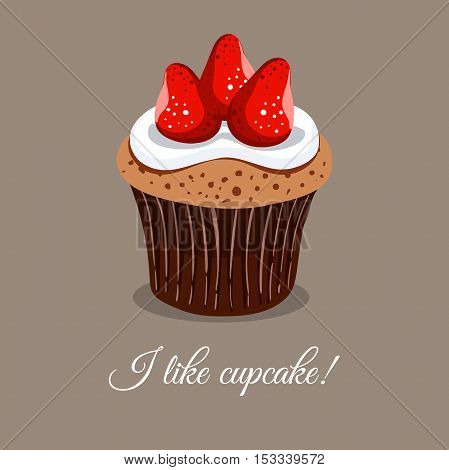 Hand drawn strawberry cupcake with message I like cupcake. Can be used for design of bakery or for cafe. Vector illustation