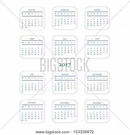 Calendar for 2017 Year on White Background.Starts Monday.
