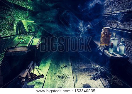 Magical Witch Hut Full Of Scrolls And Blue Potions With Copy Space For Halloween