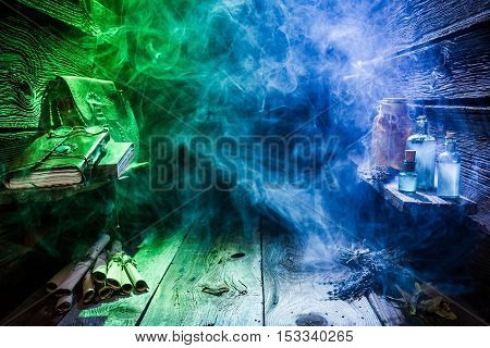 Magical Witch Hut With Blue, Green Light And Copy Space For Halloween
