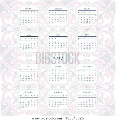 Calendar for 2017 year with ornamental pattern.  Starts Monday.