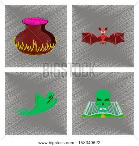assembly flat shading style icon of potion cauldron bat ghost book skull
